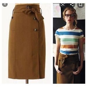 Anthro Cartonnier brown trench coat skirt